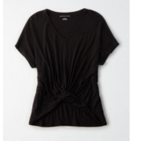 American Eagle Twist Front Shirt, Medium, Black